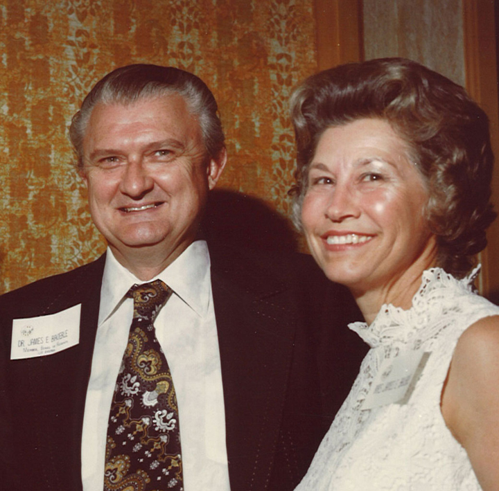 Photograph of Dr. and Mrs. Bauerle at a U. T. M. D. Anderson Cancer Center Event