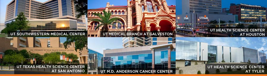 Collage of the 6 health universities of the UT System, text on the image lists the names of the universities: UT Southwestern, UT Medical Branch at Galveston, UT Health Science Center at Houston, UT Health Science Center at San Antonio, UT M.D. Anderson Cancer Center, UT Health Science Center at Tyler.