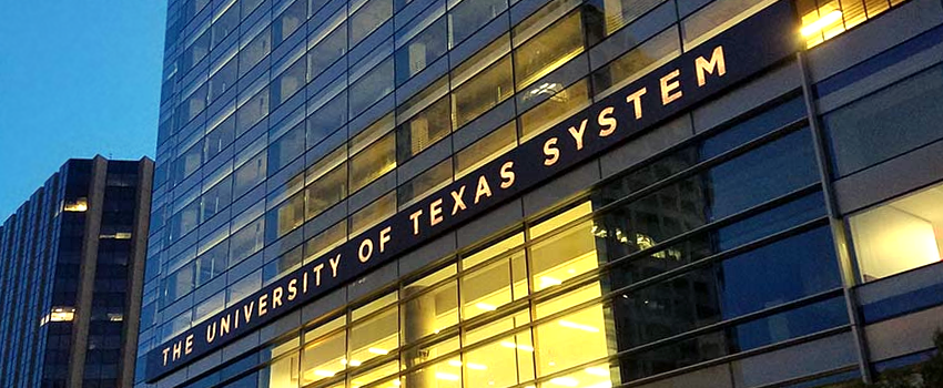 Front Facade of the UT System building at night