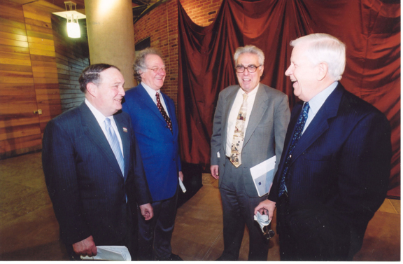 President Willerson, Chairman Miller, Dr. Ken Shine, and an unidentified person in an undated file photo