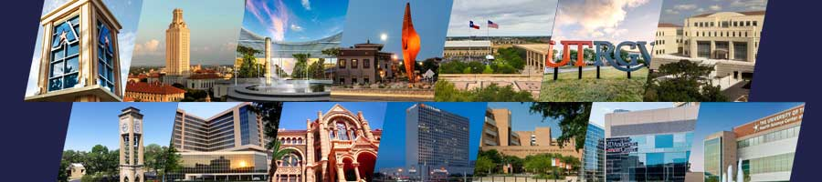 A collage of the 14 UT institutions arranged 7 in a top and bottom row. All images are exterior photos of the campuses on a dark blue background.