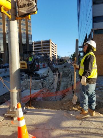 Demolition of the sidewalk on Lavaca Street has started.