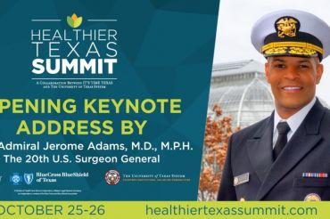 Promotional image for the Healthier Texas Summit featuring Admiral Jerome Adams, M.D.